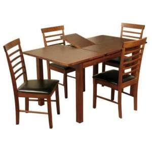 Hart Dining Table In Acacia With Four Hanover Dining Chairs