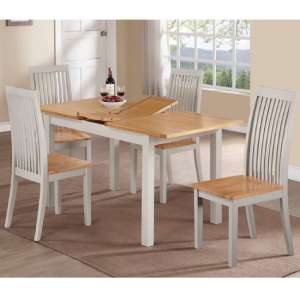 Hart Dining Table In Stone Painted With Four Dining Chairs