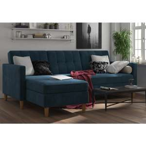 Hartford Sectional Fabric Storage Chaise Sofa Bed In Blue
