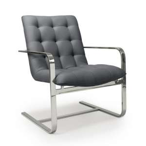 Harting Faux Leather Armchair In Grey With Chrome Frame
