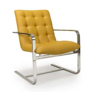 Harting Faux Leather Armchair In Yellow With Chrome Frame