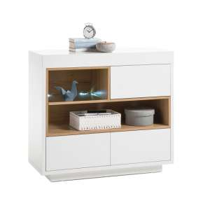 Hartland Compact Sideboard In Matt White And Oak With LED