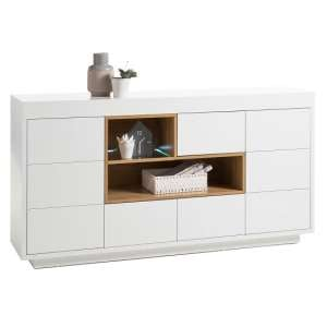 Hartland Sideboard In Matt White And Oak With LED Lighting