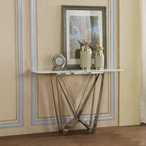 Harvell Marble Effect Console Table With Stainless Steel Base