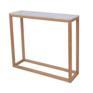 Hasting White Marble Console End Table With Oak Frame