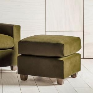 Hatton Foot Stool In Brussels Olive With Wooden Legs