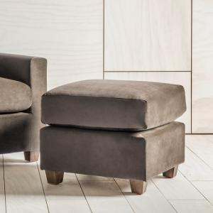 Hatton Foot Stool In Brussels Taupe With Wooden Legs