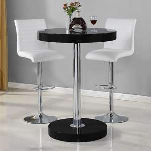 Havana Bar Table In Black With 2 Ripple White Bar Stools