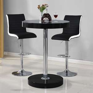 Havana Bar Table In Black With 2 Ritz Black And White Bar Stools