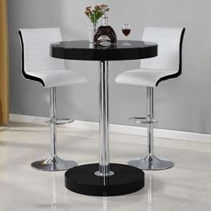 Havana Bar Table In Black With 2 Ritz White And Black Bar Stools