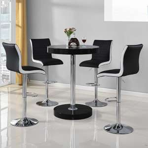 Havana Bar Table In Black With 4 Ritz Black And White Bar Stools