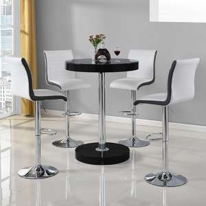 Havana Bar Table In Black With 4 Ritz White And Black Bar Stools