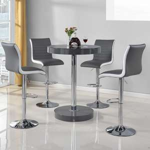 Havana Bar Table In Grey With 4 Ritz Grey And White Bar Stools