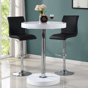 Havana Bar Table In White With 2 Ripple Black Bar Stools