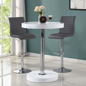 Havana Bar Table In White With 2 Ripple Grey Bar Stools