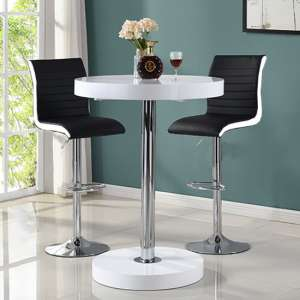 Havana Bar Table In White With 2 Ritz Black And White Bar Stools