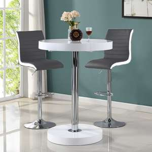 Havana Bar Table In White With 2 Ritz Grey And White Bar Stools
