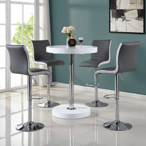 Havana Bar Table In White With 4 Ritz Grey And White Bar Stools