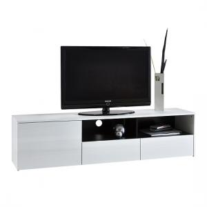 Haven Modern TV Stand In White With High Gloss Fronts