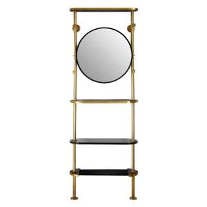 Hawkon Metal Coat Stand  In Antique Brass With Round Mirrror