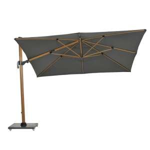 Hawo Deluxe Cantilever Parasol And Granite Base In Teak Effect