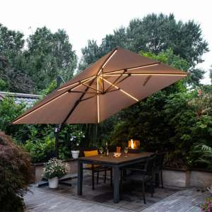 Hawo Lumen LED Square Cantilever Parasol In Sand