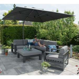 Hawo Square Big Cantilever Parasol With Granite Base In Grey