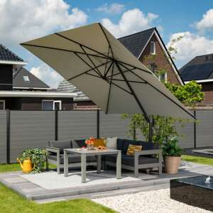 Hawo Square Big Cantilever Parasol With Granite Base In Sand