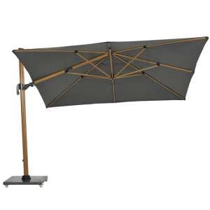 Hawo Square Cantilever Parasol And Granite Base In Teak Effect