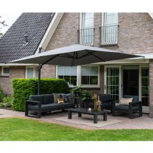 Hawo Square King Cantilever Parasol With Granite Base In Sand