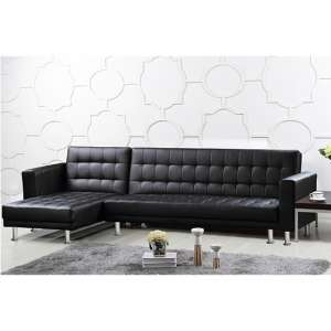 Hawthorn PU And PVC Corner Multi Functional Sofa Bed In Black