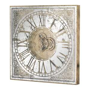 Haze Large Square Framed Mirrored Wall Clock In Antique Gold