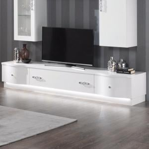 Hazel TV Stand Large In White Gloss With Flat Base And LED