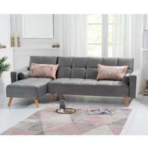 Headon Velvet Left Hand Facing Chaise In Grey With Wood Legs