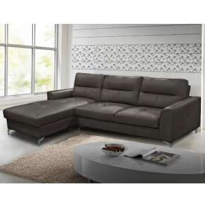 Healy Left Corner Sofa In Grey Faux Leather With Chrome Legs