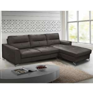 Healy Right Corner Sofa In Grey Faux Leather With Chrome Legs