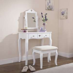 Heart Design Dressing Table Set In White