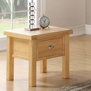 Heaton End Table In Rustic Light Oak With 1 Drawer