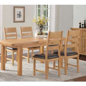 Heaton Extending Dining Set In Rustic Light Oak With 4 Chairs