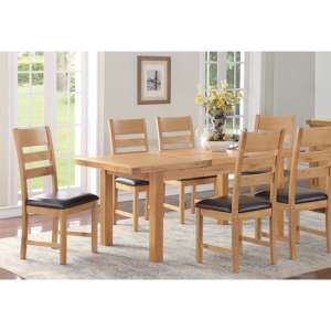 Heaton Extending Dining Set In Rustic Light Oak With 6 Chairs