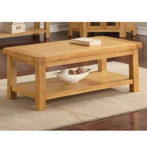 Heaton Large Coffee Table In Rustic Light Oak With Shelf