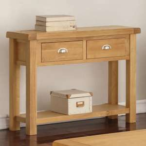 Heaton Large Side Table In Rustic Light Oak With 2 Drawers