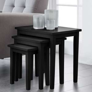 Heaton Wooden Set Of 3 Nest of Tables In Black