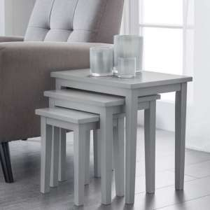 Heaton Wooden Set Of 3 Nest of Tables In Lunar Grey Lacquer
