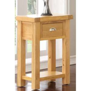 Heaton Side Table In Rustic Light Oak With 1 Drawer