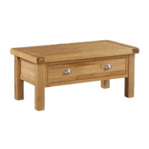 Heaton Small Coffee Table In Rustic Light Oak With 1 Drawer