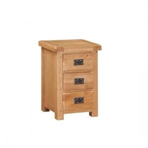 Heaton Wooden Bedside Cabinet In Solid Oak With 3 Drawers