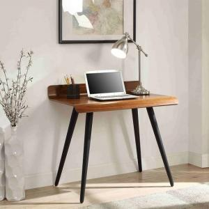 Hector Small Computer Desk Rectangular In Walnut With Dark Legs