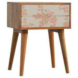 Hedley Wooden Bedside Cabinet In Pink Floral Screen Printed