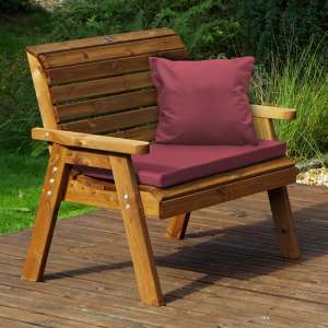 Heeko Traditional 2 Seater Bench With Burgundy Cushion